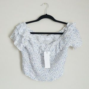 NWT Lush Off the Shoulder Smocked Crop Top